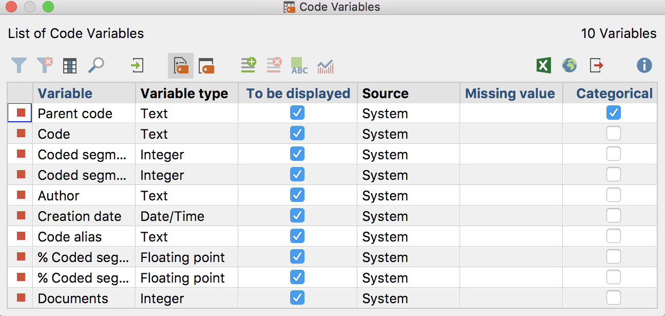"System variables in the ""List of code variables"""