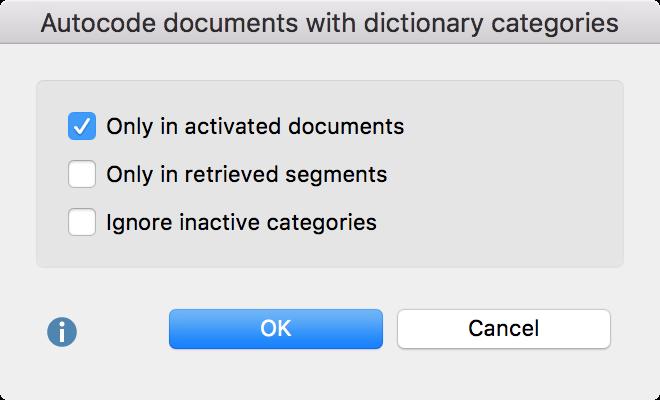 Autocoding options