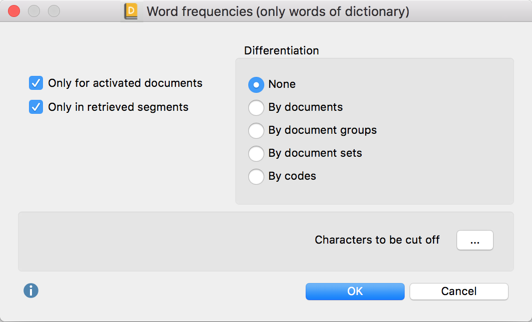 """Option dialog """"Word frequencies – Count only dictionary words"""""""