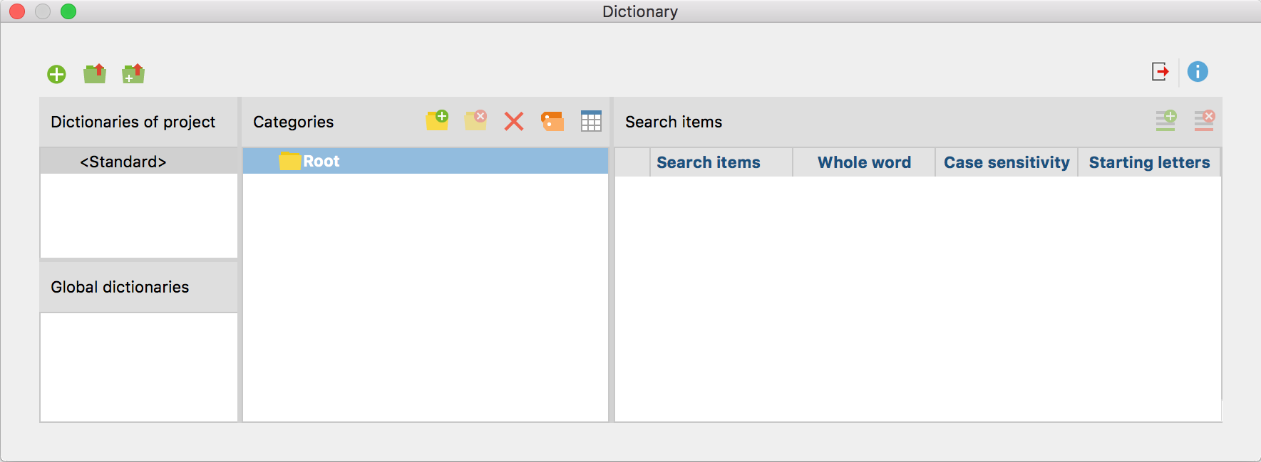 Window for managing dictionaries