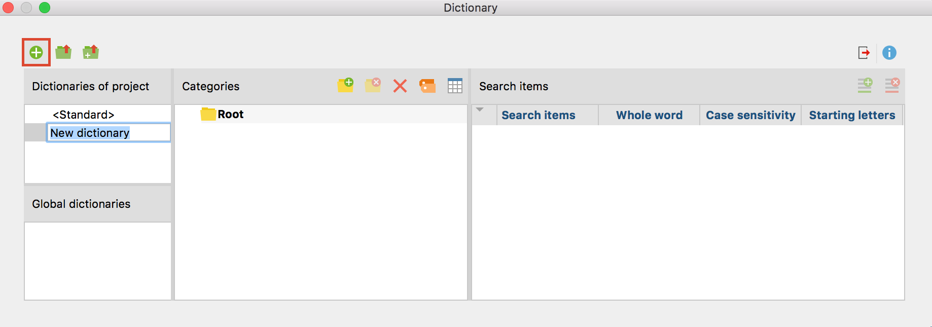 Icon for adding a new dictionary to the project