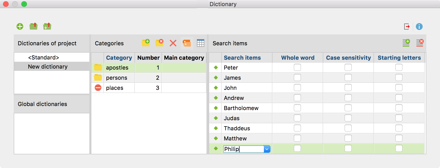 A new search item is added to the category system