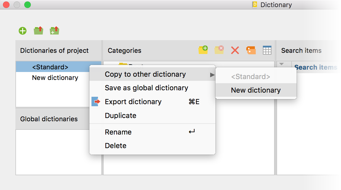 Copy search items from one dictionary to another