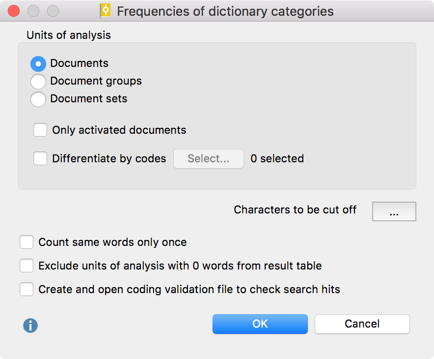 """Options dialog for the """"Quantitative Content Anaylsis"""" function"""