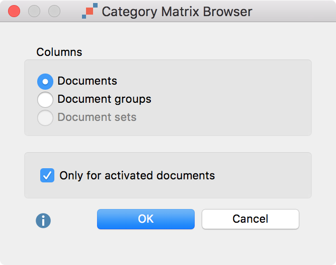 Setting options for the Category Matrix Browser