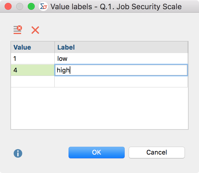 Dialog box for creation of a Value Label