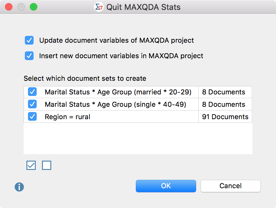 Options window for closing MAXQDA Stats