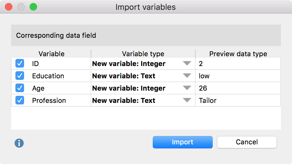 Dialog box for specifying variable types upon import of an Excel file