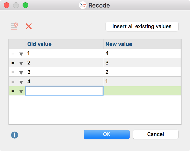 Dialog box for input of values to be recoded