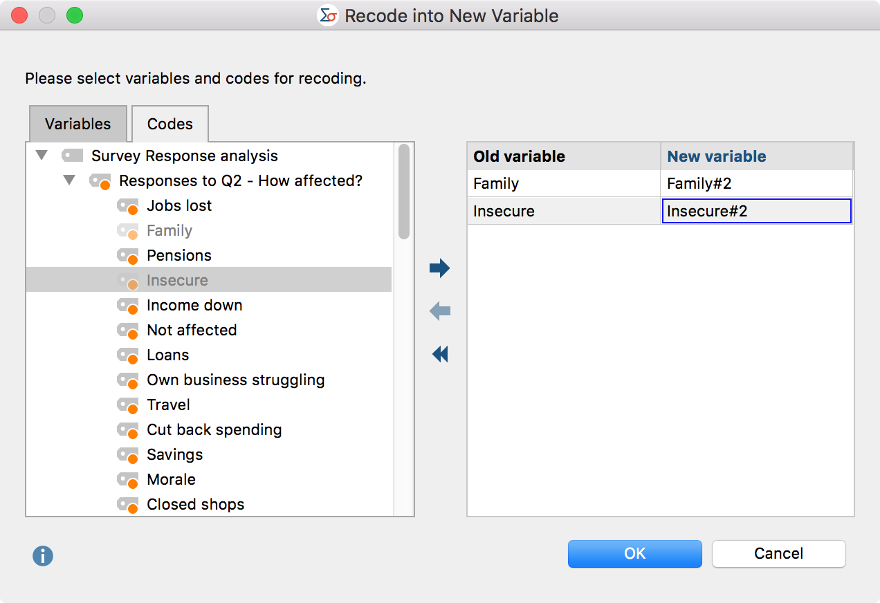 Select codes for recoding as new variables