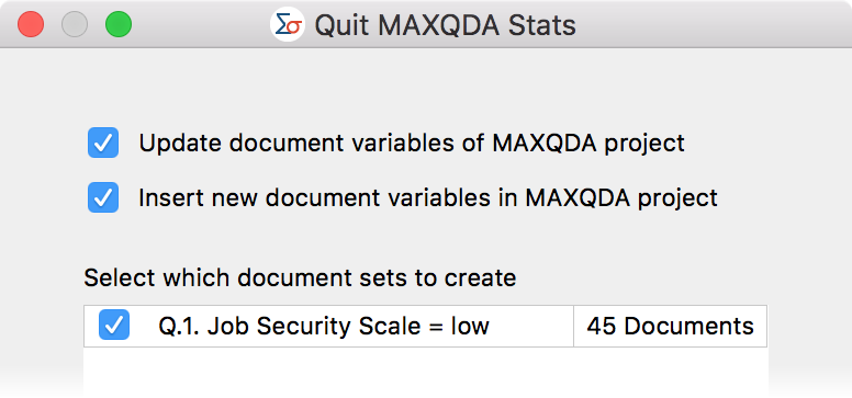 Select document sets upon exiting MAXQDA Stats