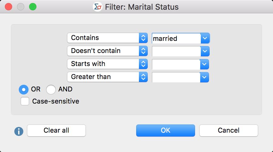 Enter filter criteria