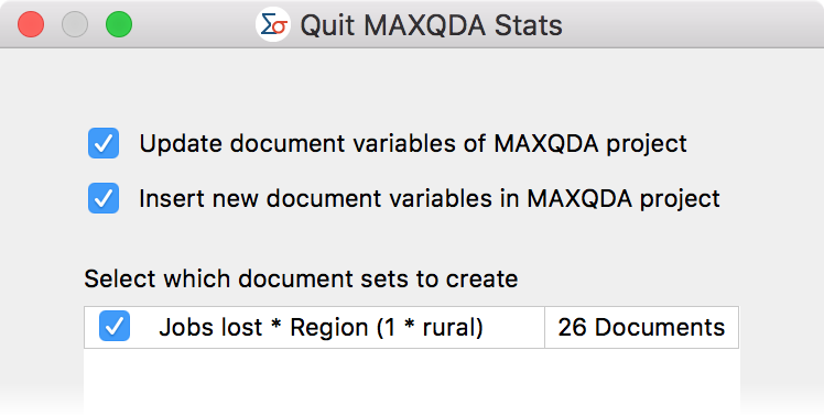 Select document sets upon exiting MAXQDA Stats