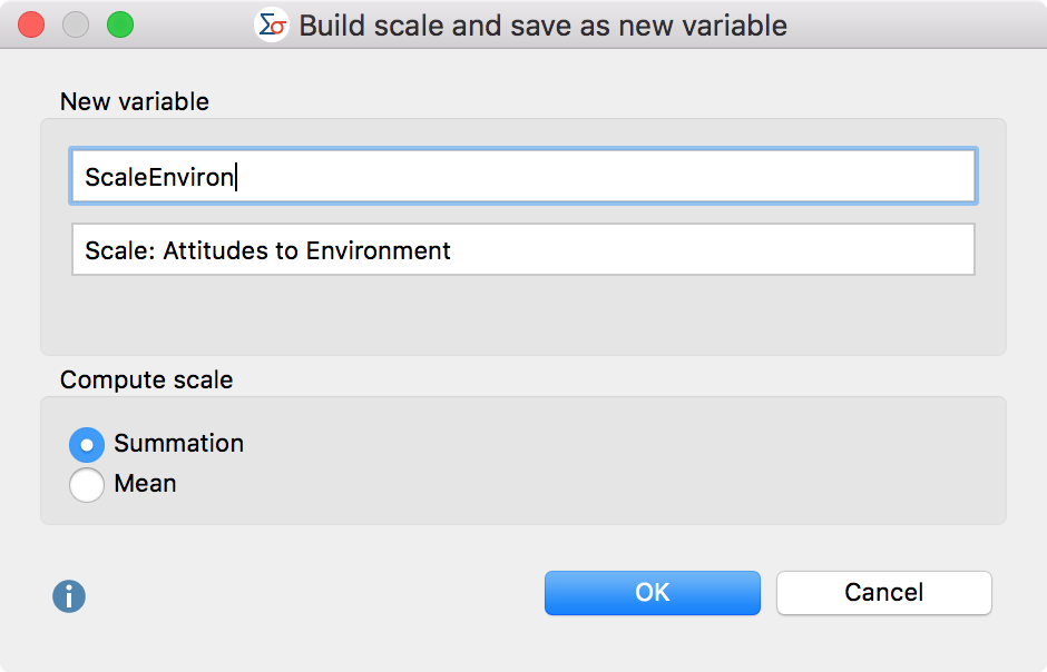 Define variable name, variable label, and the kind of calculation for the new variable
