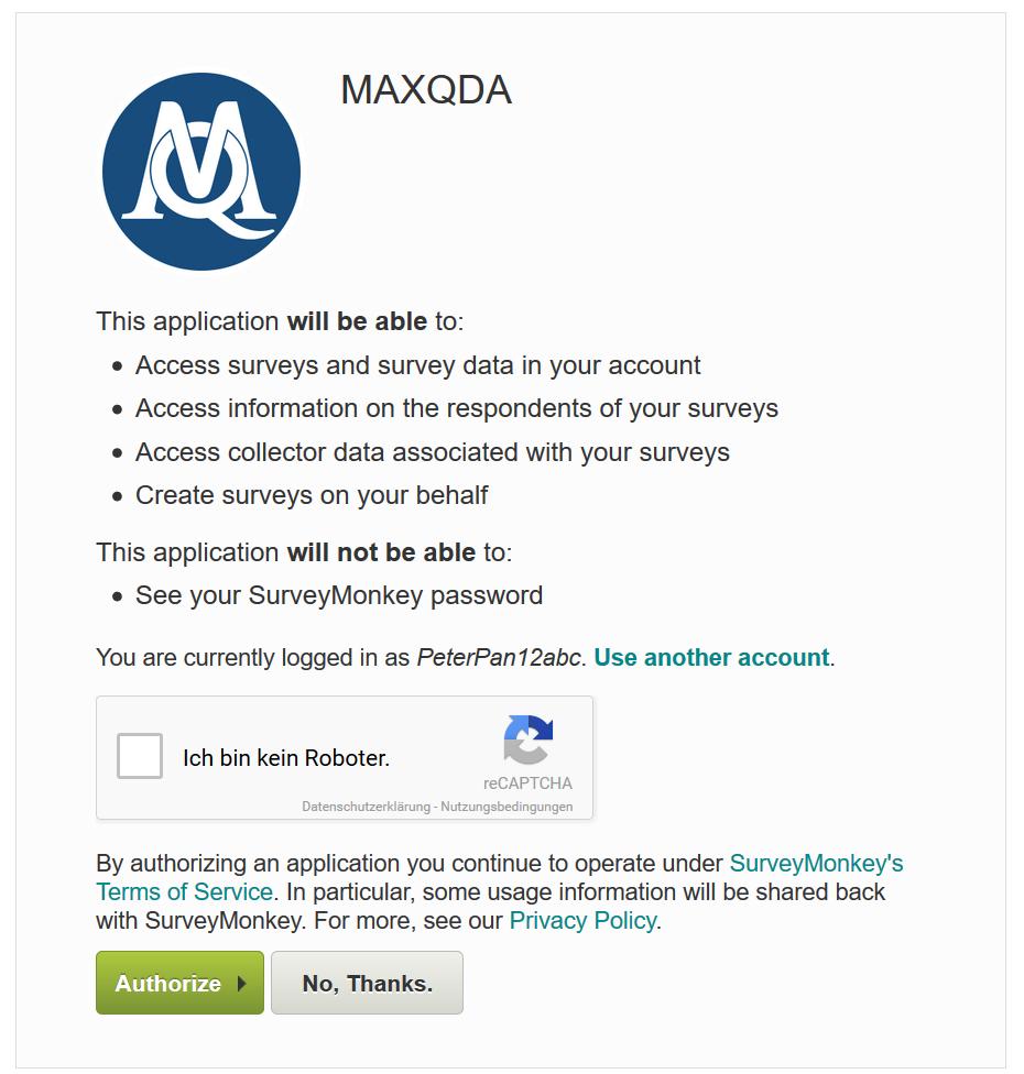 Authorization of SurveyMonkey in your browser window