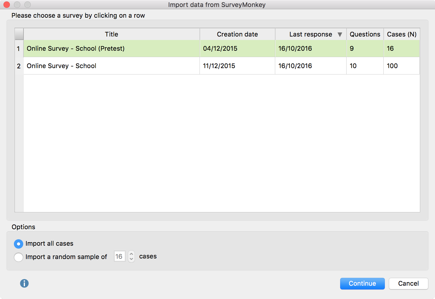 This dialog window allows you to select a survey you want to import