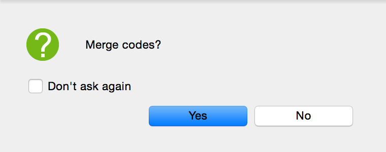 Confirmation message for merging of codes
