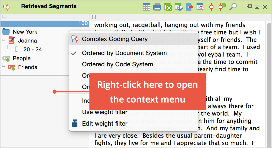 """Access to the Complex Coding Query in the context menu of the """"Retrieved Segments"""" window"""