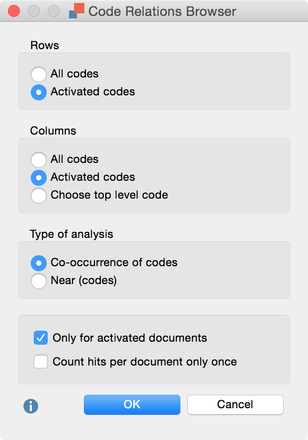 Code Relations Browser options dialog