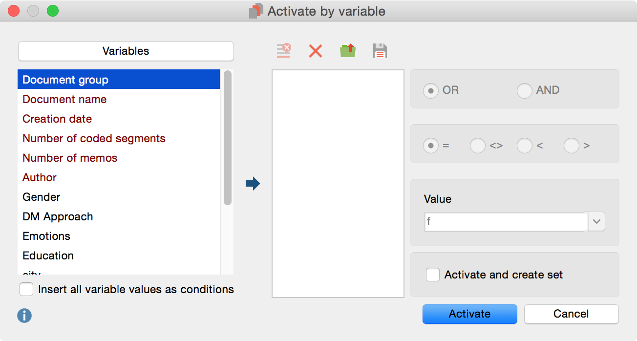 Dialog field for activation by variable