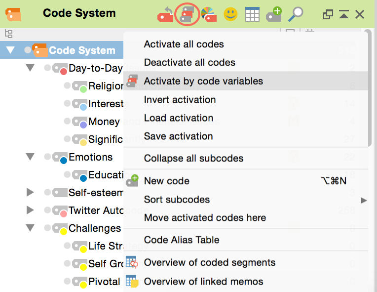 """Activate by code variable function in the """"Code System"""" icon's context menu"""