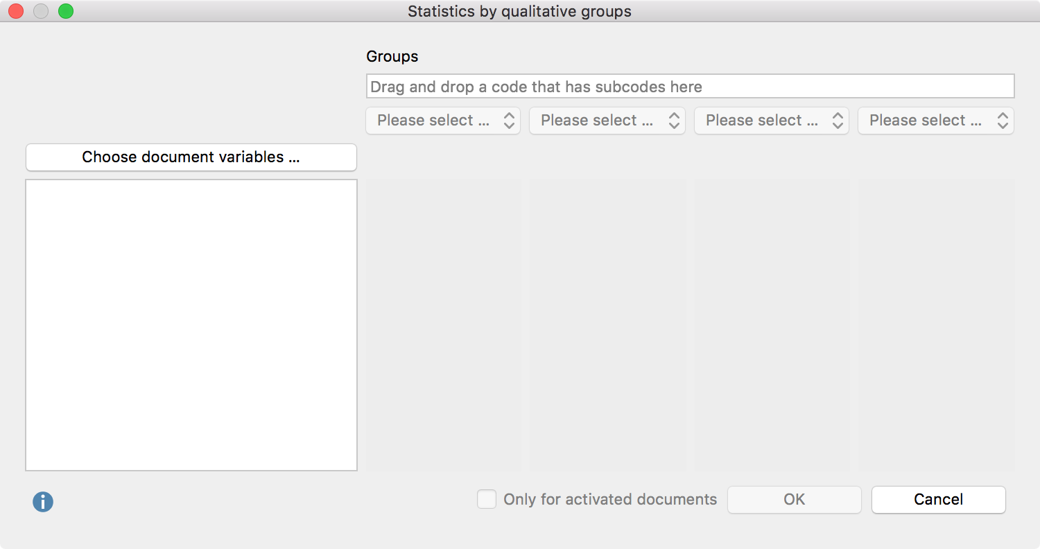 "Creating a joint display ""Statistics by qualitative groups"""