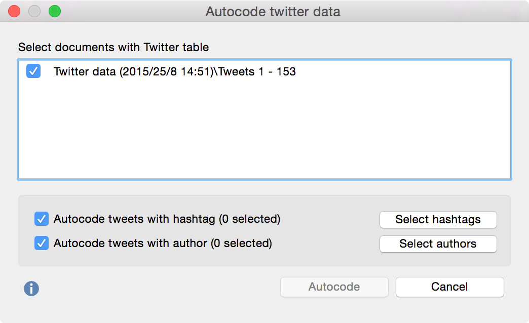 Autocode Twitter data dialog window