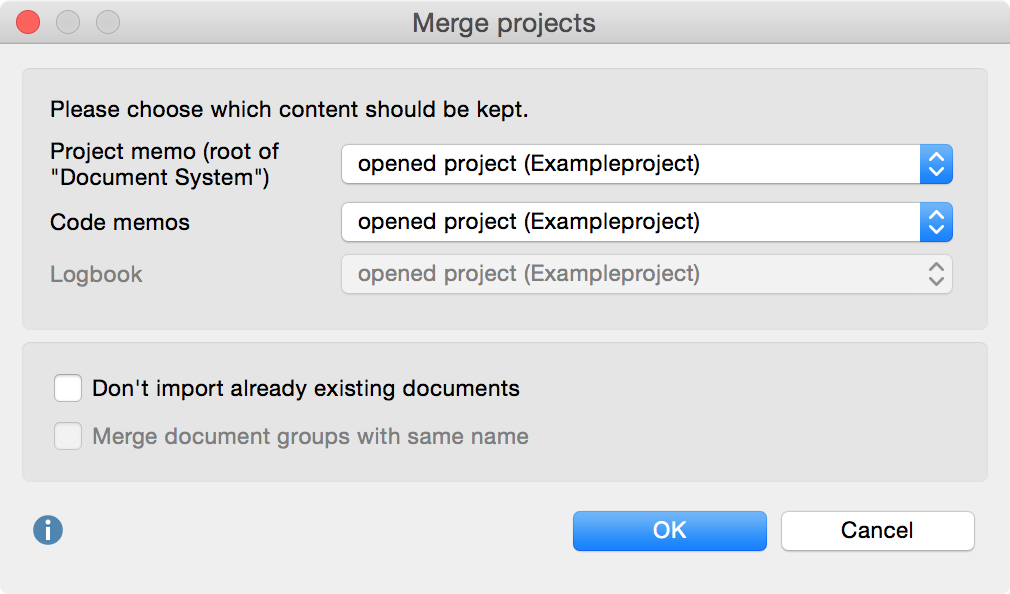 Options for merging projects
