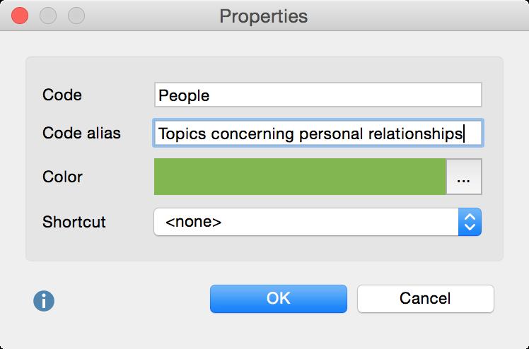 Assigning a code alias in the Code properties window