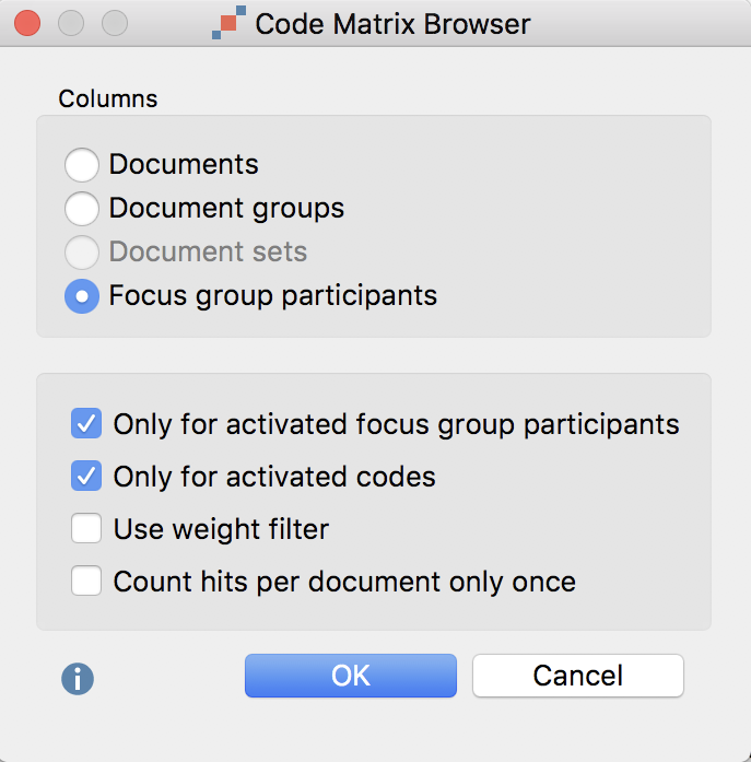 Code Matrix Browser options