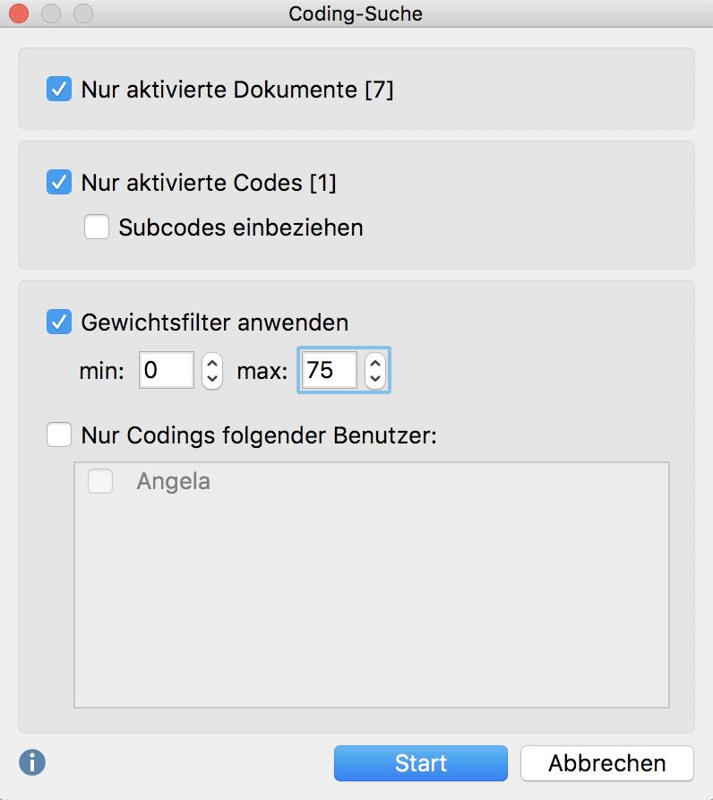 "Fenster ""Coding-Suche"""