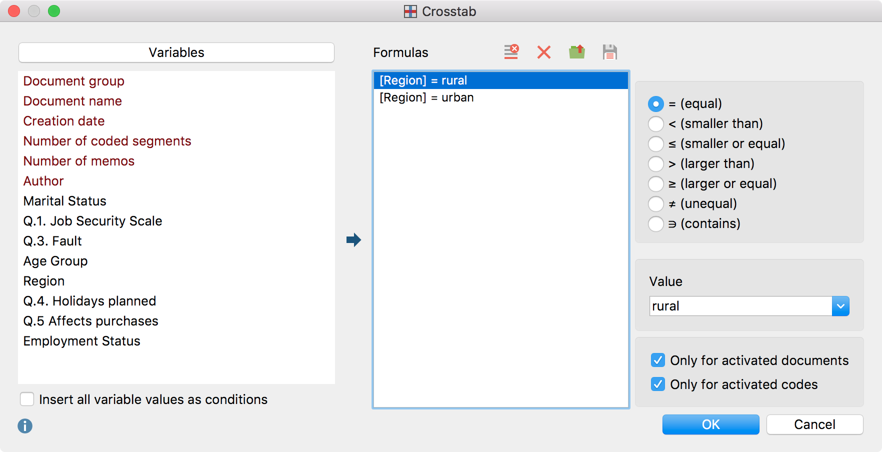 The Crosstab dialog window