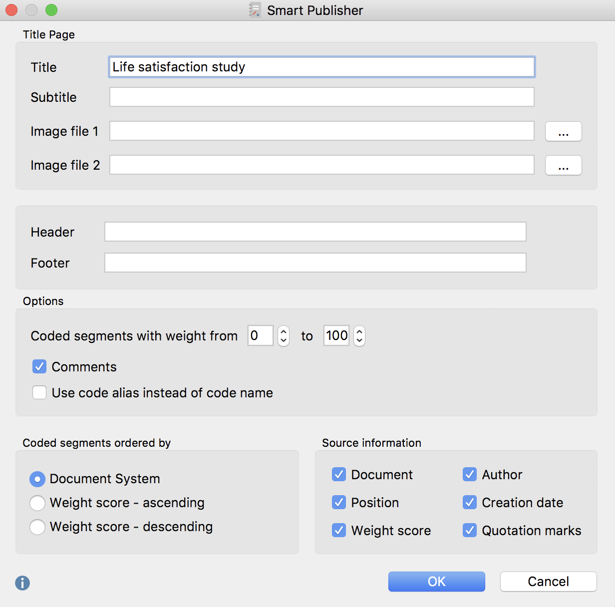 Smart Publisher settings