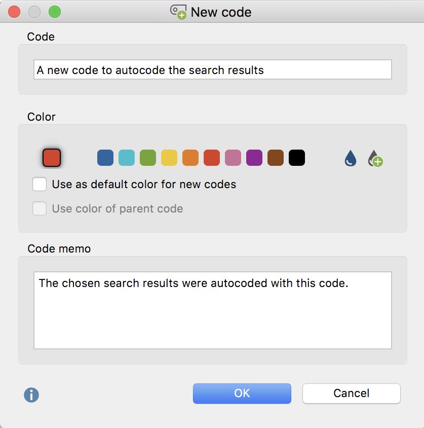 Autocode search results: Define a new code