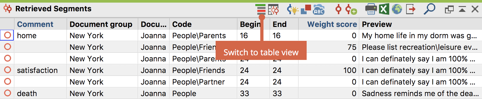 "The ""Retrieved Segments"" in a table view"