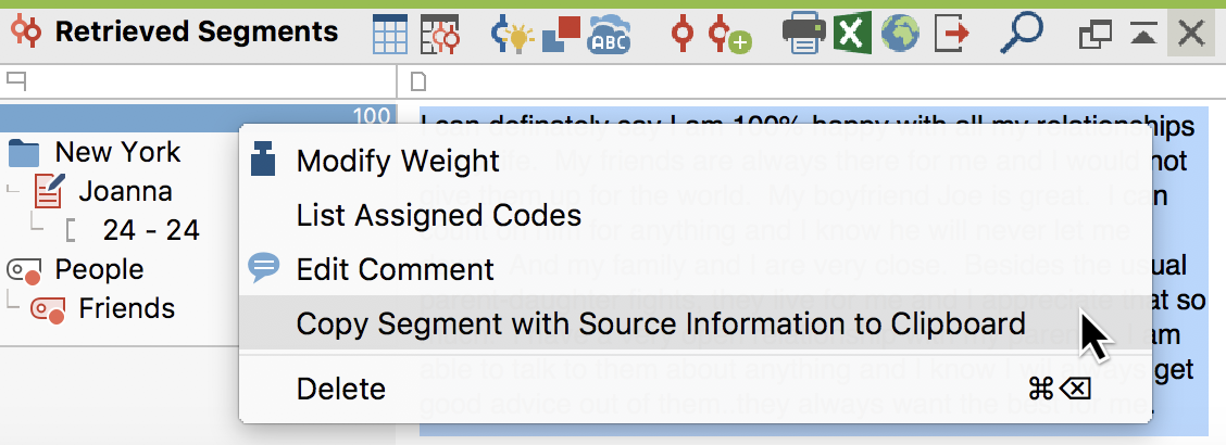Calling up source information from a context menu