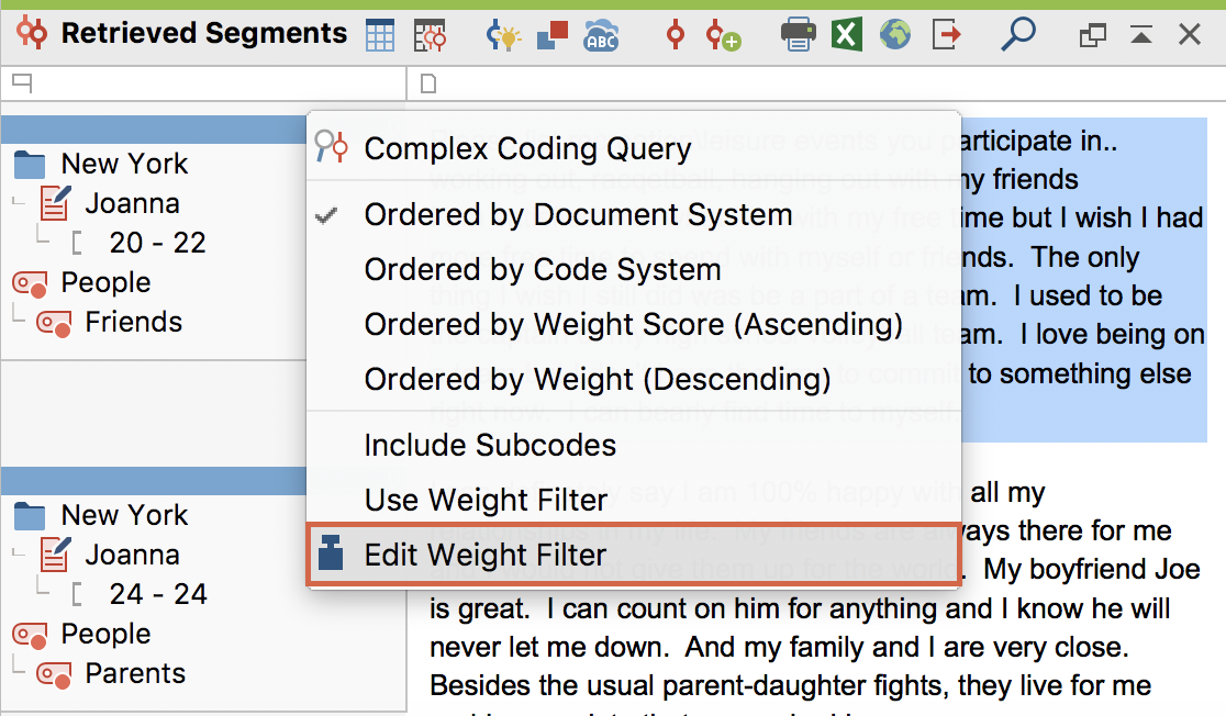 "Weight filter in the context menuof the ""Retrieved Segements"" window"