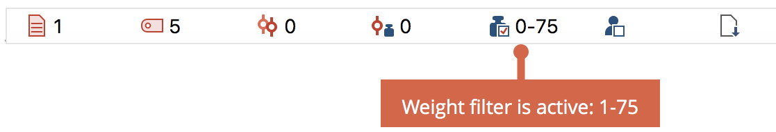 Display of weight filter in the status bar