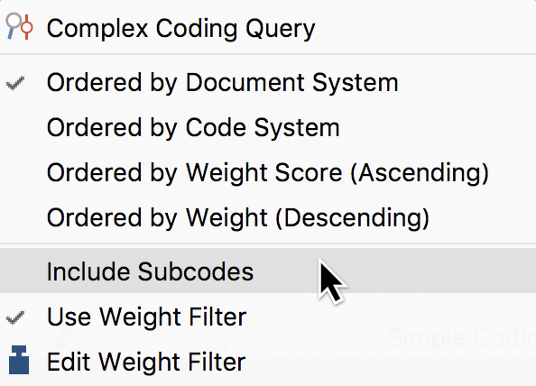 """The """"Include subcodes"""" option in the context menu of the """"List of coded segments"""""""