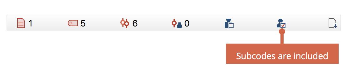 Subcode inclusion shown in the status bar
