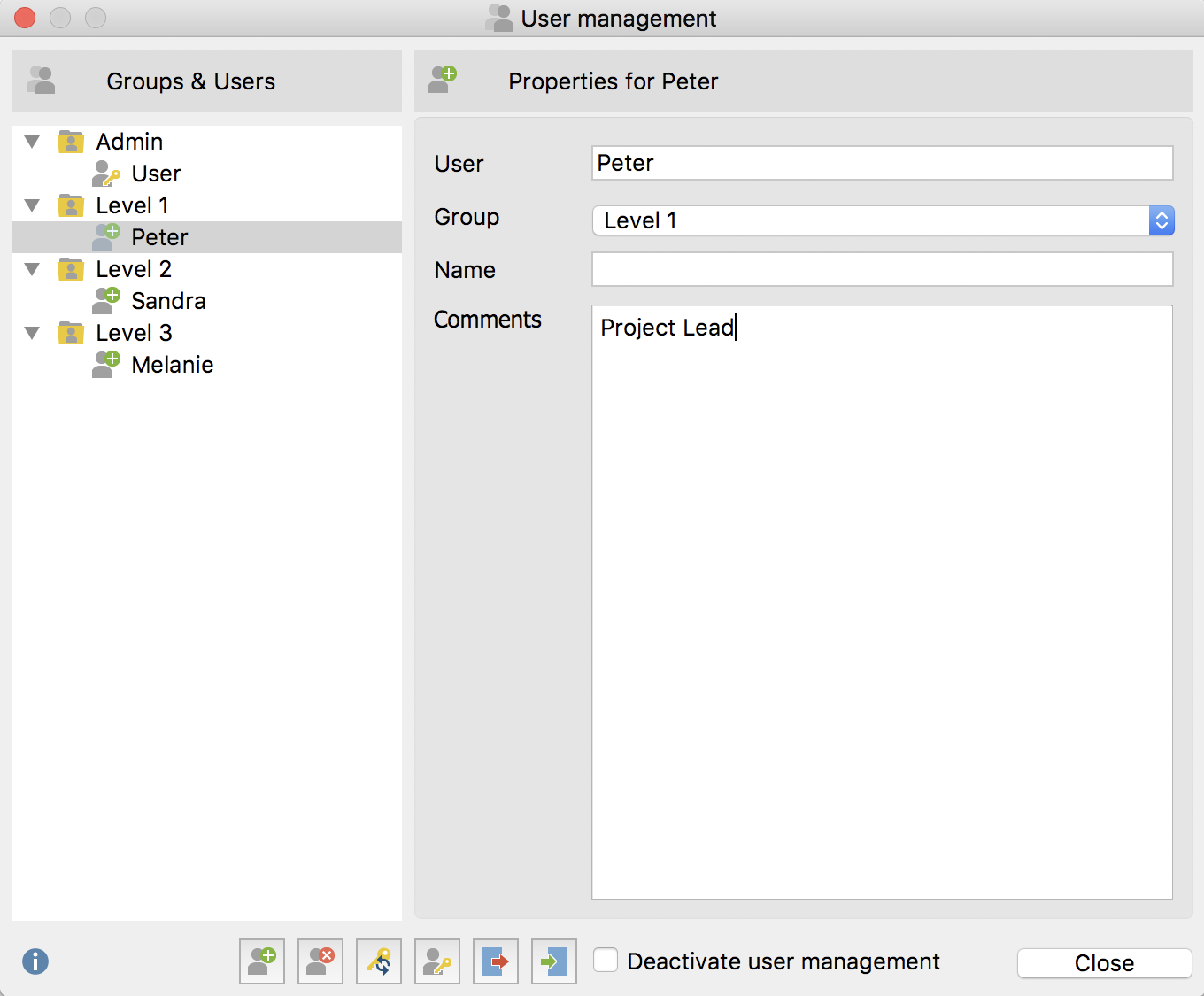 Main user management window