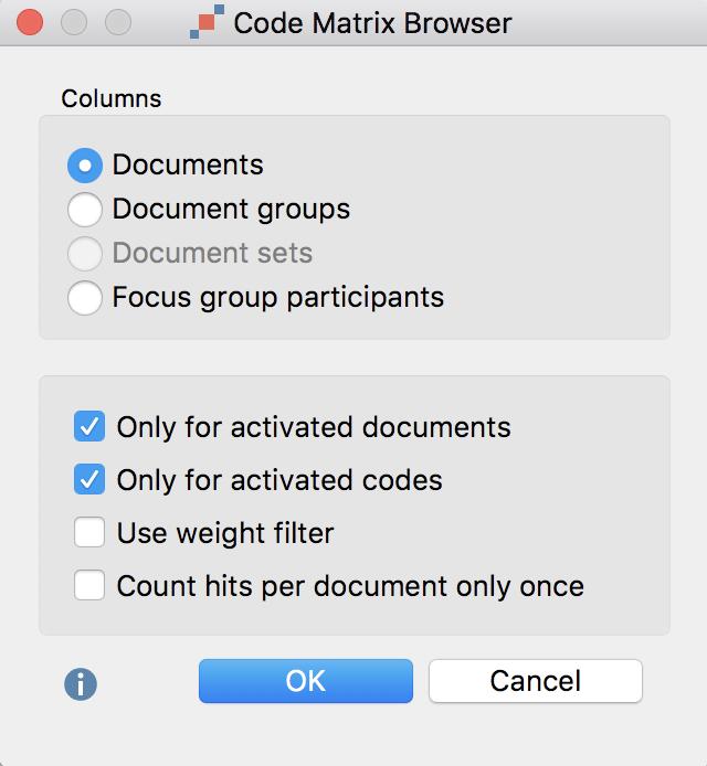 Code Matrix Browser options dialog window