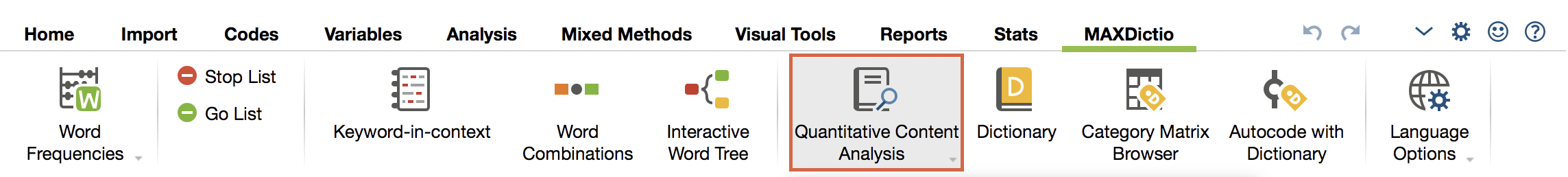 "Start ""Quantitative Content Anaylsis"" in the tab ""MAXDictio""."