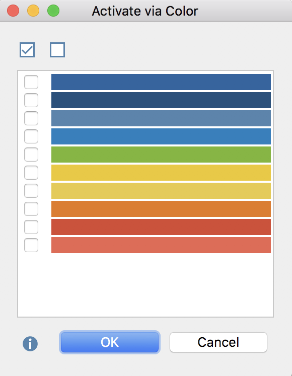 The colors representing codes or documents to be activated