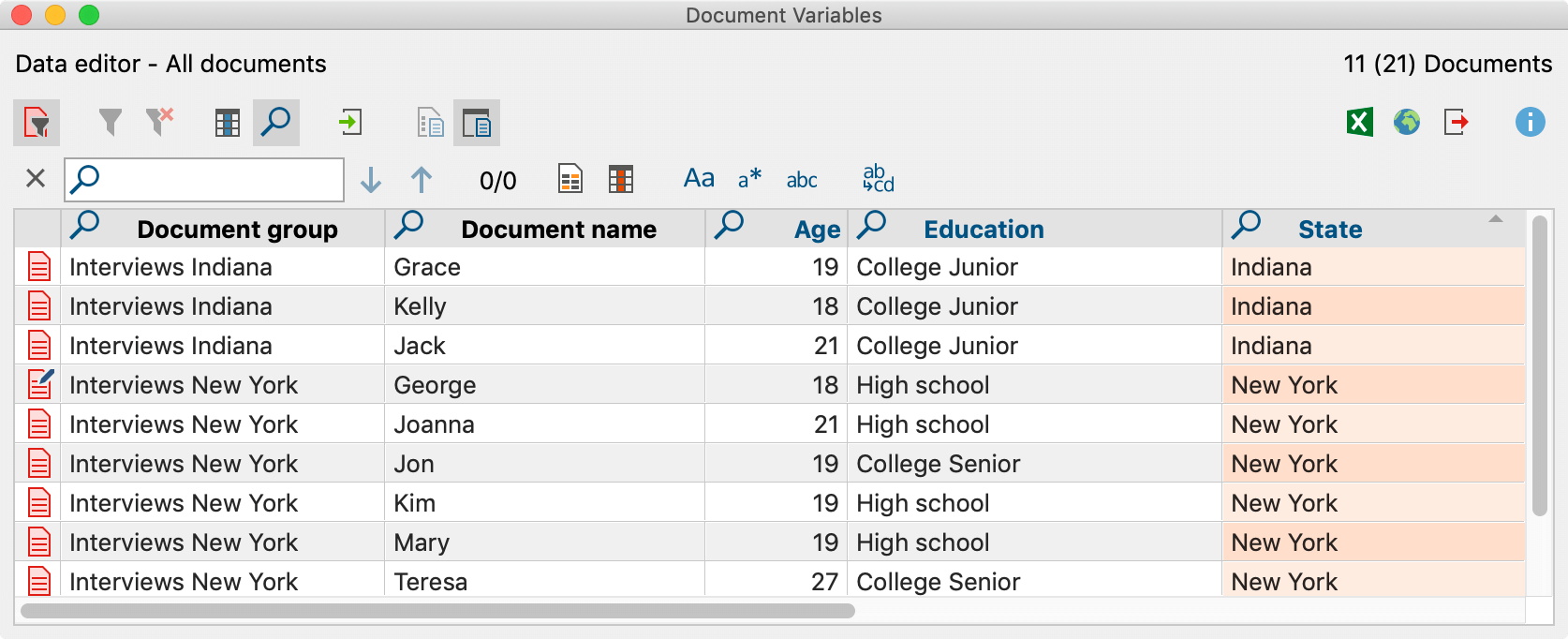 Searching in a table overview