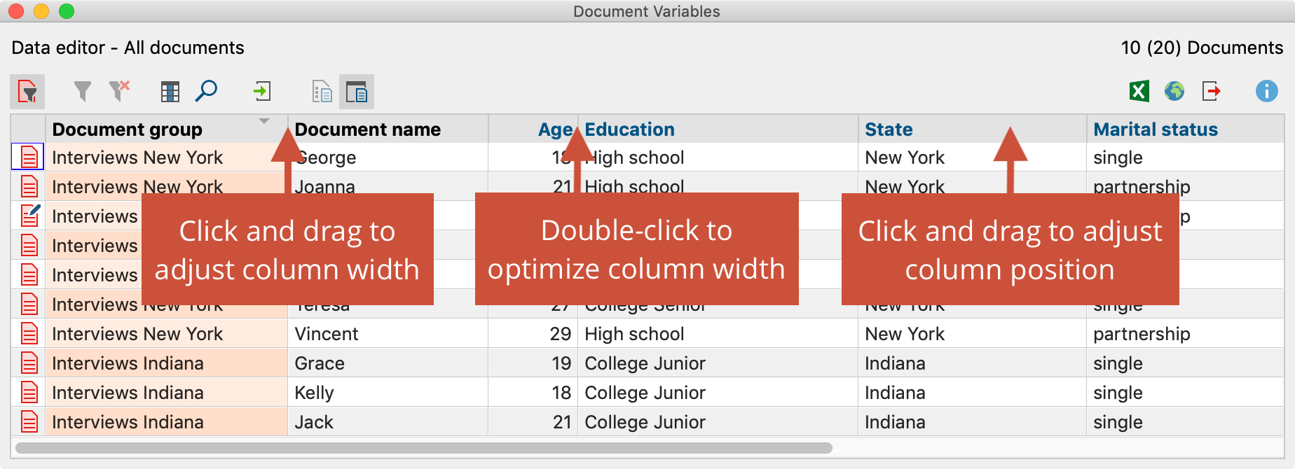 Adjust column width and position