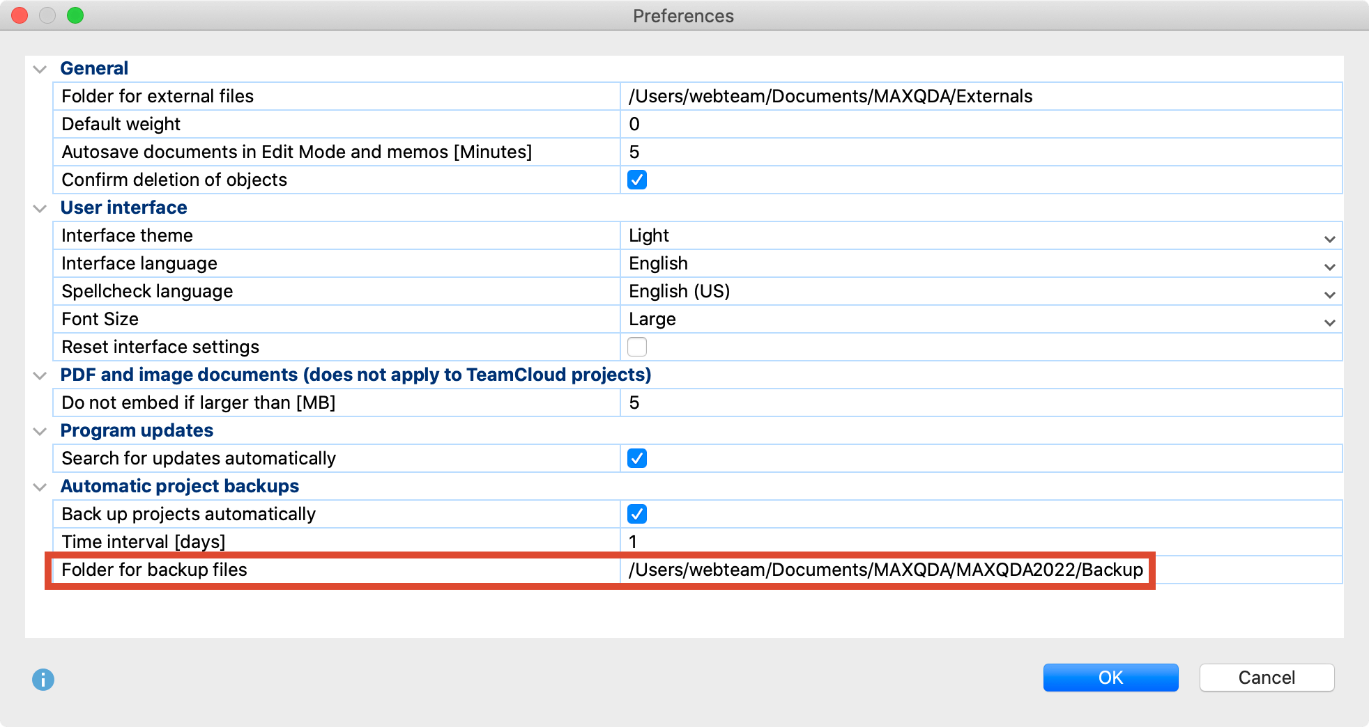 Define the settings for the automatic backup of projects
