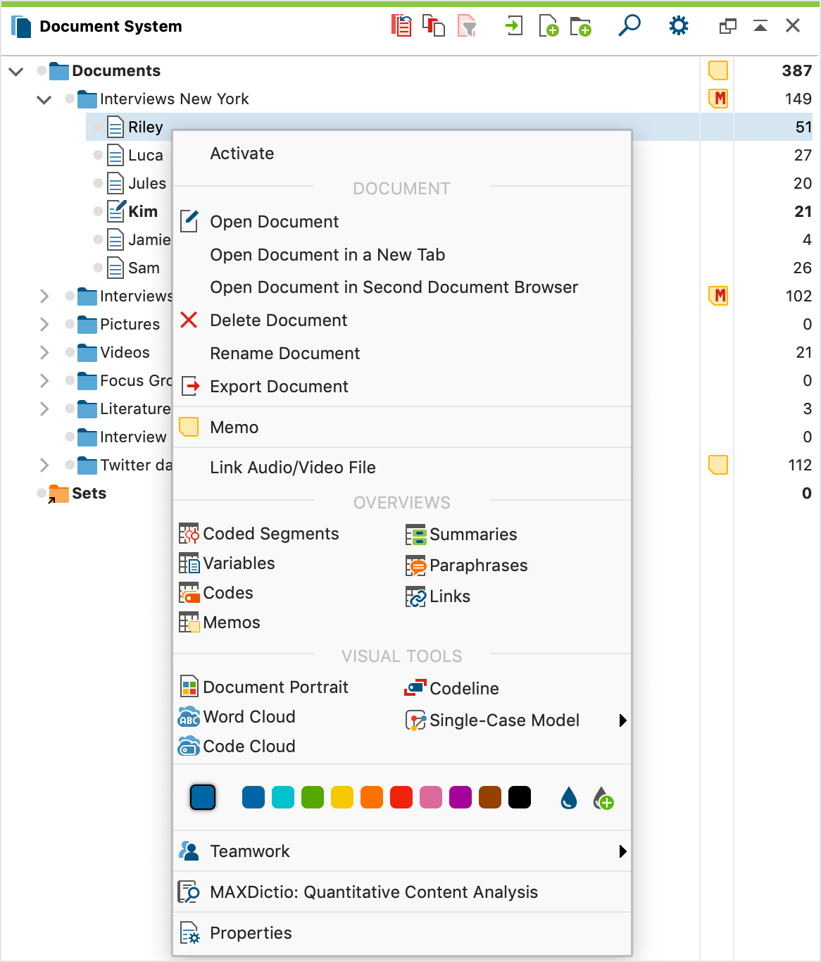 Context menu for the lowest (document) level