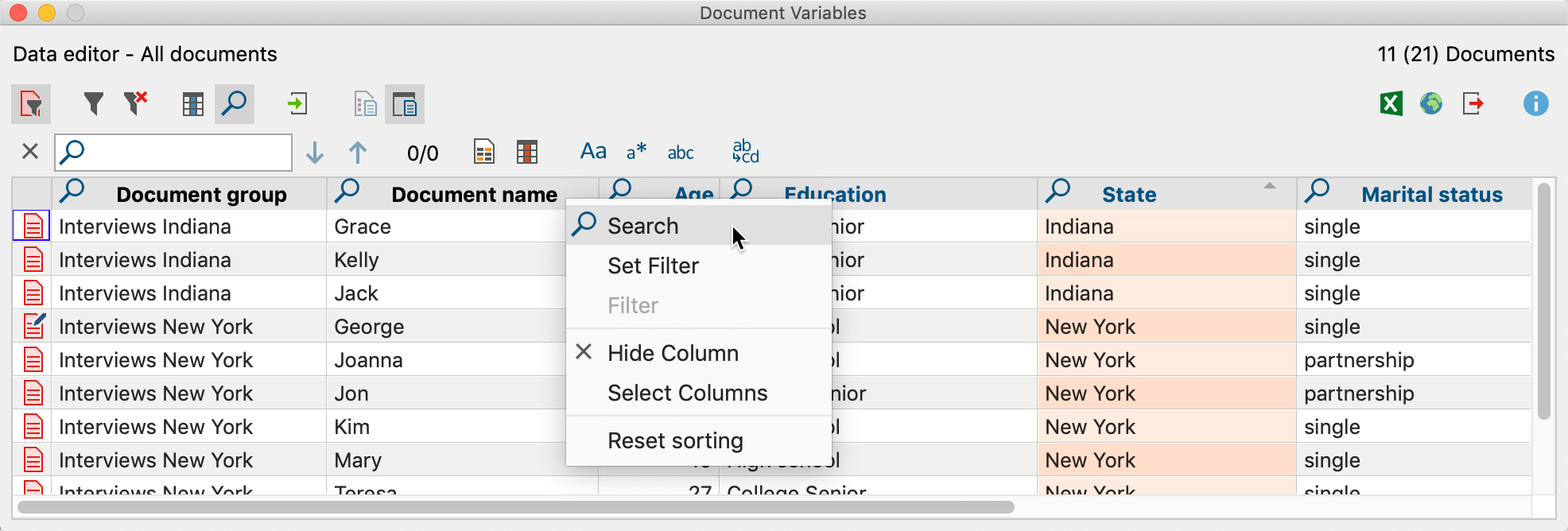 Restrict search to one column