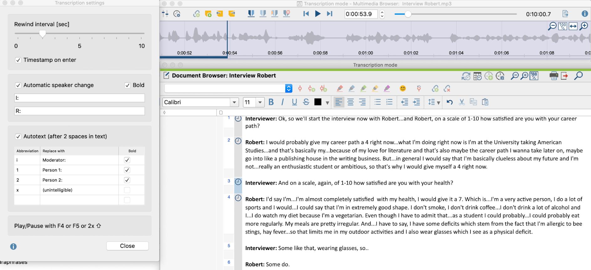 Transcribing audio files using MAXQDA